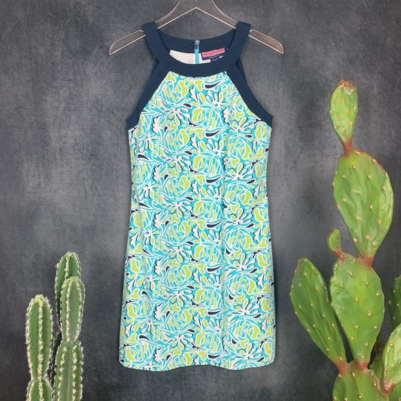 Vineyard Vines Dresses & Skirts - Vineyard Vines Aqua Green Navy Sleeveless Dress 6